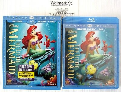 GENUINE SEALED The Little Mermaid (Blu-ray + DVD) Diamond Edition w/ SLIPCOVER