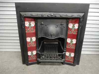 FIREPLACE – CAST IRON – INNER – MAROON AND PINK TILES, 40c