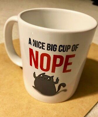 "Anti-valentine Funny Oatmeal Exploding Kittens coffee cup mug ""Nope"" cat"