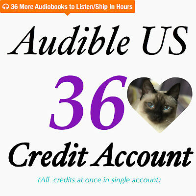 Speed Shipping Audible US 36 Credit in One ACCOUNT for any 36 Audiobooks