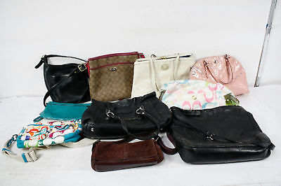 Auth Coach Lot Of 10 Leather Canvas And Nylon Handbags Shoulder Bags Purses Deal