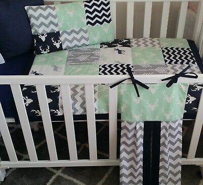 New Mint, Navy and Grey Stag Print Patchwork bedding set + Nappy stacker