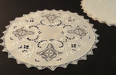 Antique Placemats Linen Italian White Embroidered Filet Lace Luncheon Table Mats