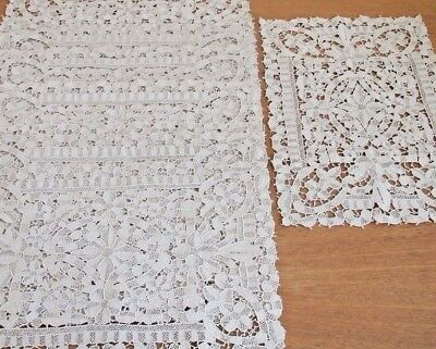Lace Placemats Needlelace 9 pc Venice Antique Vintage Table Set Ecru