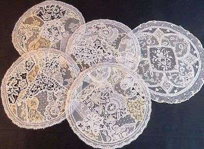 Antique Lace Doilies Handmade Pieced Laces Bobbin Brussels Duchess 5 pc