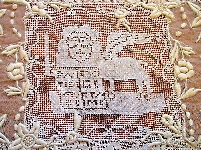 Lace Doily Placemat Embroidered St Marks Lion Sword Filet Antique Table Tray Mat