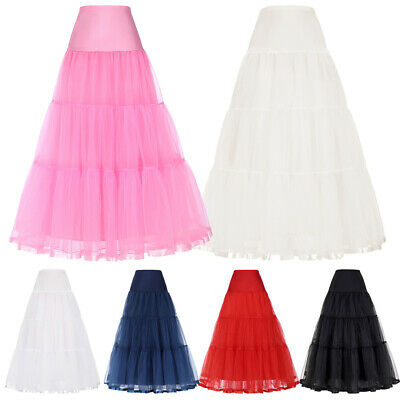 Vintage Lady Tulle Petticoat Crinoline Long Underskirt Bridal Wedding Dress Gown