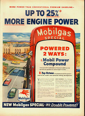 1954 Vintage ad for Mobilgas`Colorful`retro gas pumps (122913)