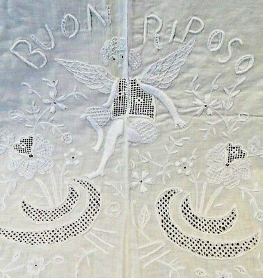 Antique Sheet Hand Italian Embroidered White Angel Embroidery Buon Riposo Cotton