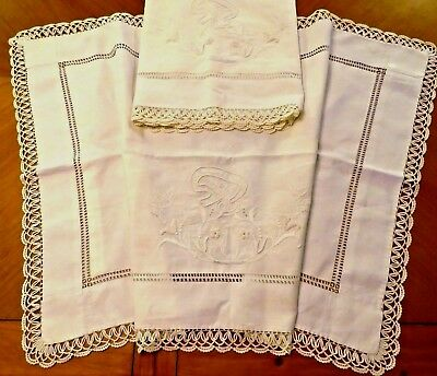 Vintage Pillow Shams Pillowcases Italian Hand Embroidered SOGNI FELICI Cotton