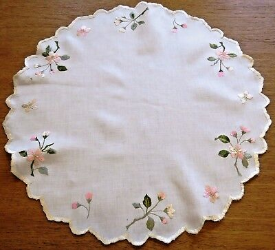 2 Antique Doilies Table Cover Centerpiece Hand Embroidered Society Silk Flowers