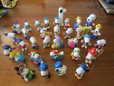 Lot of 36 Snoopy Peanuts Whitman's PVC Holiday Cake Toppers, Keychains, Pez,