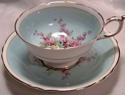 Beautiful Paragon Blue Wide Mouth Tea Cup & Saucer Set