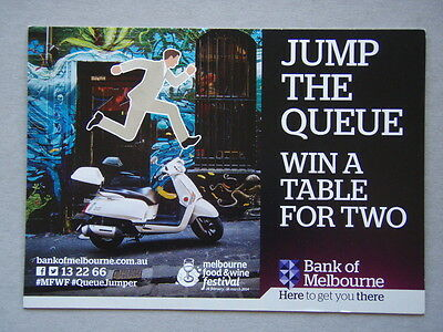 Bank Of Melbourne Jump The Queue Win A Table For Two Postcard