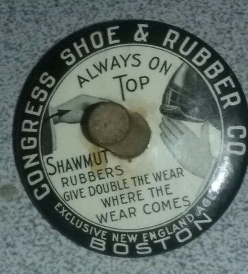 Congress Shoe and Rubber Co. Boston  tin toy top advertising  Shawmut rubbers..
