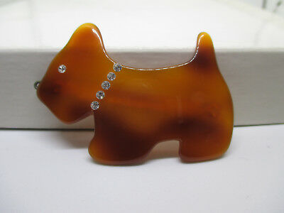Vintage Art Deco Scottie Dog Barrette Bakelite Rhinestones Tortise Brown