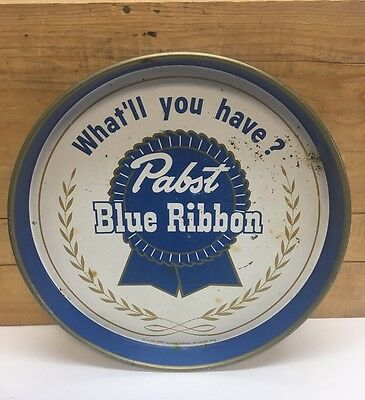 "Vintage Pabst Blue Ribbon Beer Tray - 12"" No. U-304 ""What'll you have?"""