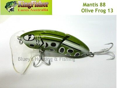 Kingfisher Mantis 88mm jointed cod surface lure; 13 olive frog+ spare bib