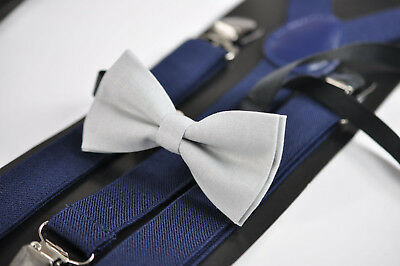 e405169d3041 Baby BOY KIDS SILVER Bow Tie Navy Blue Braces Elastic Suspenders 1-8 Years  Old
