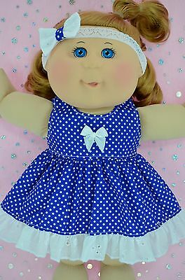 "Play n Wear Doll Clothes For 14"" Cabbage Patch BLUE POLKA DOT DRESS~HEADBAND"