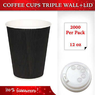 Disposable Coffee Cups+Lids 1000 Pieces 12 oz Triple Wall Take Away Coffee Cup