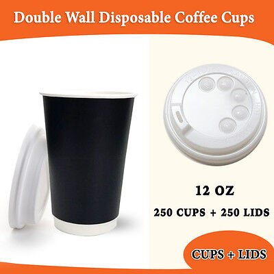 Disposable Coffee Cups 250 pc+Lids 250 Pc 12 oz Double Wall Takeaway Coffee Cups