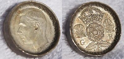 1943 Great Britain 1 Florin World Silver Coin - Edge Hammered - Incomplete Ring