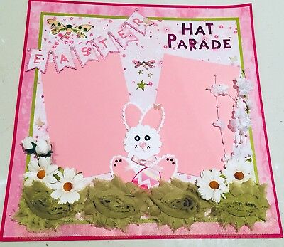 Handmade 12 x 12 Scrapbook Page Layout 'Easter Hat Parade'
