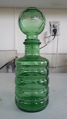"Vintage GREEN GLASS Apothecary Jar - 11"" DECANTER Bottle - CARAFE - Ewer"