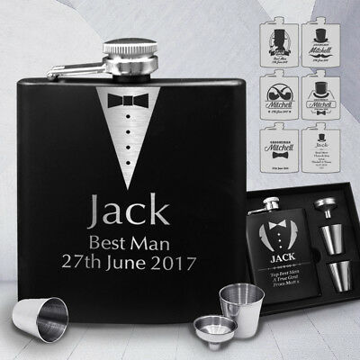 Personalised Engraved Hip Flask 6oz Groom Best Man Usher Wedding Father Day Gift