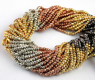 """5 Strand Beautiful Multi Pyrite 3.5-4mm Faceted Rondelle Gemstone Beads 13"""" Long"""