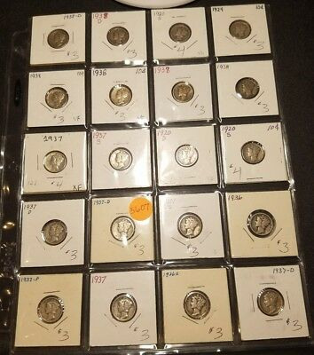 20 Mercury Dimes, Mixed Lot 5607
