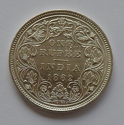 1862 British India Silver 1 Rupee Coin - Victoria Queen -  Four Dots - Nice