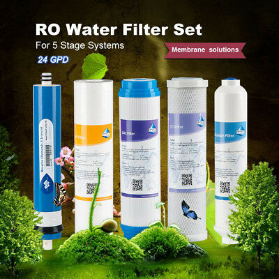Home Drinking 5 Stage Pre& Post Water Filters + 24GPD Film Top Quality Universal