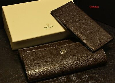 ROLEX : Luxury Brown Leather  Wallet + credit card holder ( Brand new in Box )