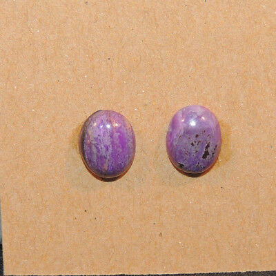 Sugilite Cabochons 10x8mm with 3.5mm Dome from South Africa set of 2 (13288)