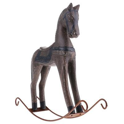 Hand Carved Gray Rocking Horse Wooden Desk Decoration Fashioned Retro Style