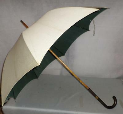 Vintage 'Brigg' London Umbrella- Pale/ Green Cotton Canopy Gold plated Collar