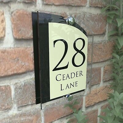 Black & Cream House Address Plaque Door Sign Numbers ARCA5-28BVP