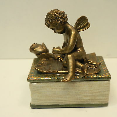 Box Jewelry Tobacco Angel Art Deco Style Art Nouveau Style Porcelain Bronze