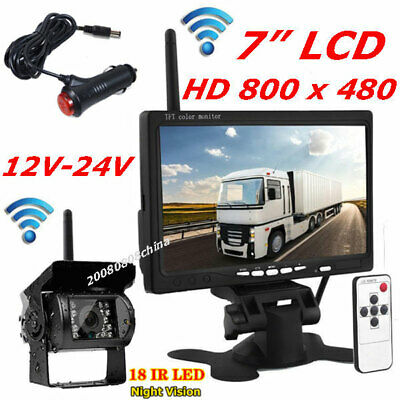 """Wireless Vehicle Backup Camera System 7"""" LCD Rear View Monitor for Bus Truck RV"""