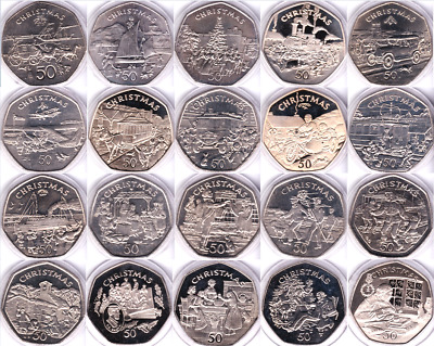 Isle of Man Christmas 1980 - 2016 IOM BU Proof 50p Fifty Pence Coins Rare Scarce