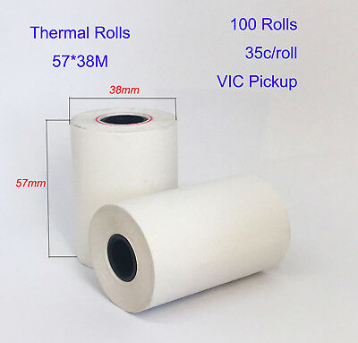 100/200Pcs 57x38mm Eftpos Rolls Thermal Paper Cash Register Receipt VIC Pick Up