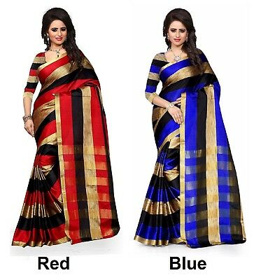 INDIAN BOLLYWOOD MUSLIM Designer Cotton Silk Saree Party wear Pakistani  Sari 2