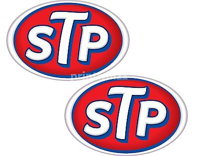 STP Oil x 2 Stickers 75x50mm Racing Motorcycle Car Decals Quality Vinyl Label