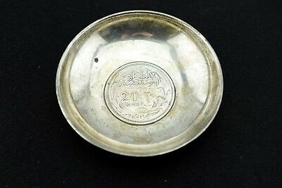 1916 Egypt 20 Piastres .833 Silver Coin 950 Sterling Trinket Dish Bowl