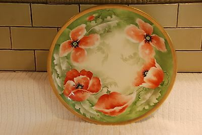 ANTIQUE LIMOGES Coronet France hand painted signed Red Poppy platter ...