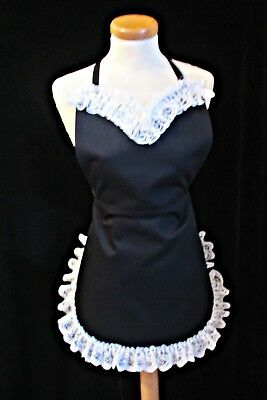 VICTORIAN Style FRENCH MAID FANCY DRESS  APRON in BLACK COTTON * Made in England