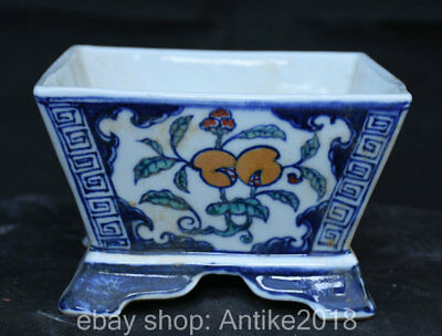 "6.6"" Xuande Marked Old Chinese Blue White Porcelain Dragon Fruit Pot Jar Crock"