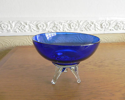 Vintage Cobalt/Bristol Blue 3 Footed Glass Bowl